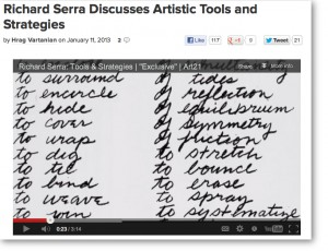 RICHARD SERRA ART 21 TOOLS-PRACTICE